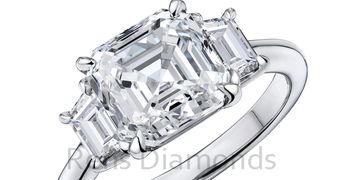 Three Stone Diamond Ring Asscher Cut and Traps Rehs Co, Inc,  Diamond Cutters  Wholesale