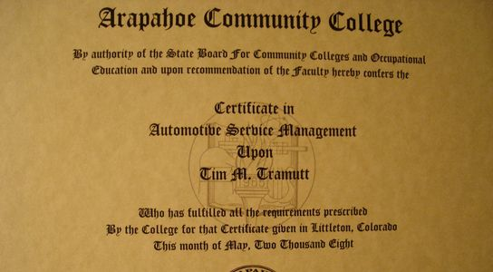 Certificate in Automotive Service Management