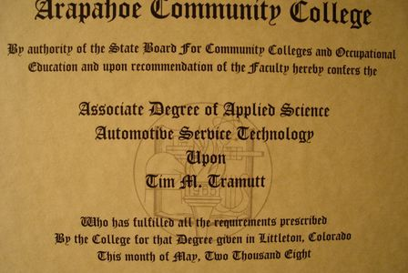 Associate Degree of Applied Science Automotive Service Technology