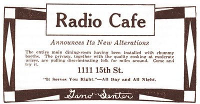 Actual newspaper advertisement for the Radio Café, in 1924
