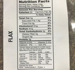 Crushed Flax Nutrition Label