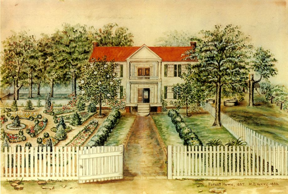 """The Lost Garden of Forest Home""  A Watercolor Illustrated and painted by M.D. Henry in 1950"
