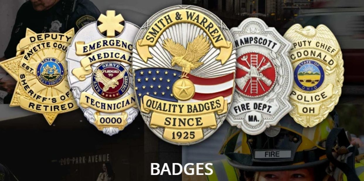 Police fire, sheriff, EMS and security badges by Smith & Warren