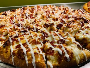 Chicken bacon drizzled
