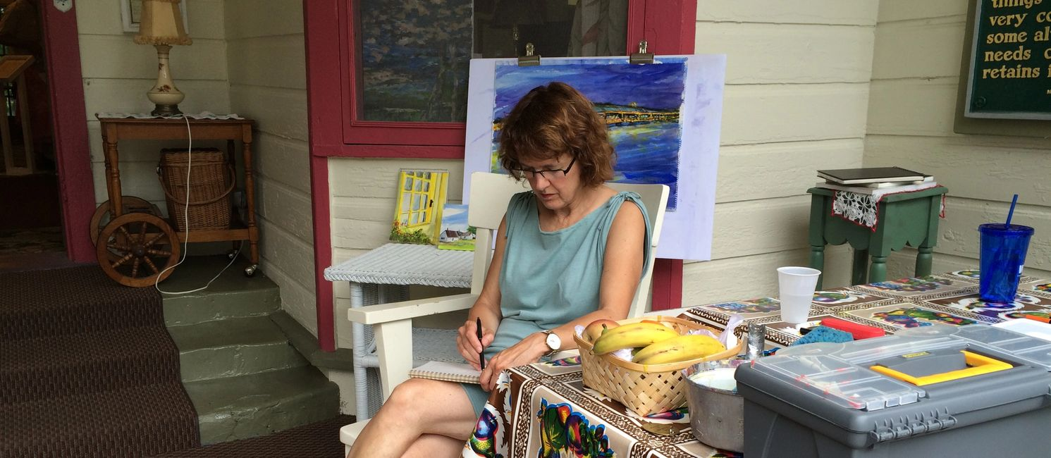 In 2015, I was an Artist-In Residence in Petosky, MI. Glorious weather...painted outside all week.