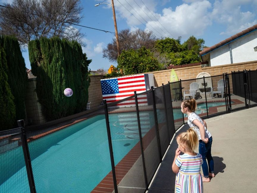Pool Barrier Removable Mesh Fence  by Aqua Net meets ASTM F2286-05 & CA Health & Safety Code 115922