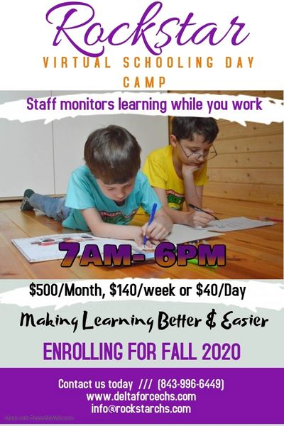 Virtual Schooling Day Camp.  Staff Monitors online schooling while you work.  Tumble class included