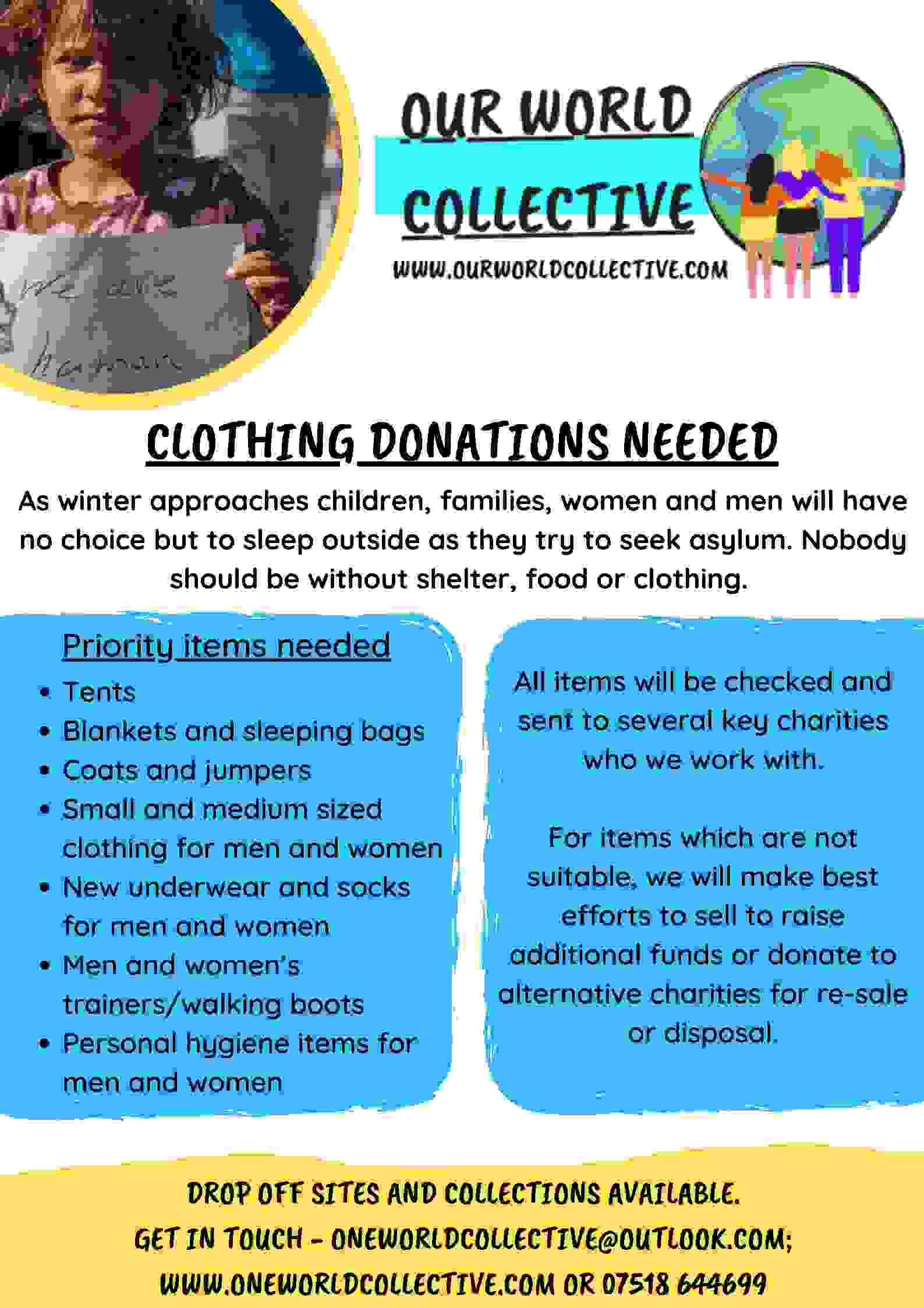 Poster from Our World Collective advertising for clothing donations.
