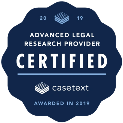 Casetext Badge Certified Advanced Legal Research Provider, awarded in 2019