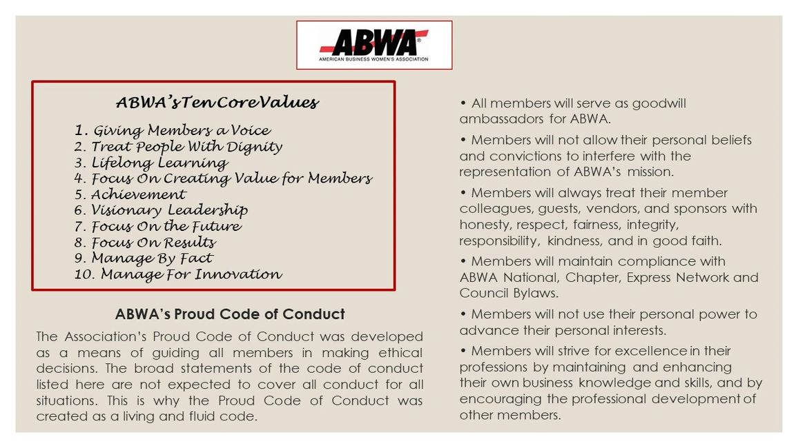 ABWA NATIONAL PROUD CODE OF CONDUCT AND CORE VALUES