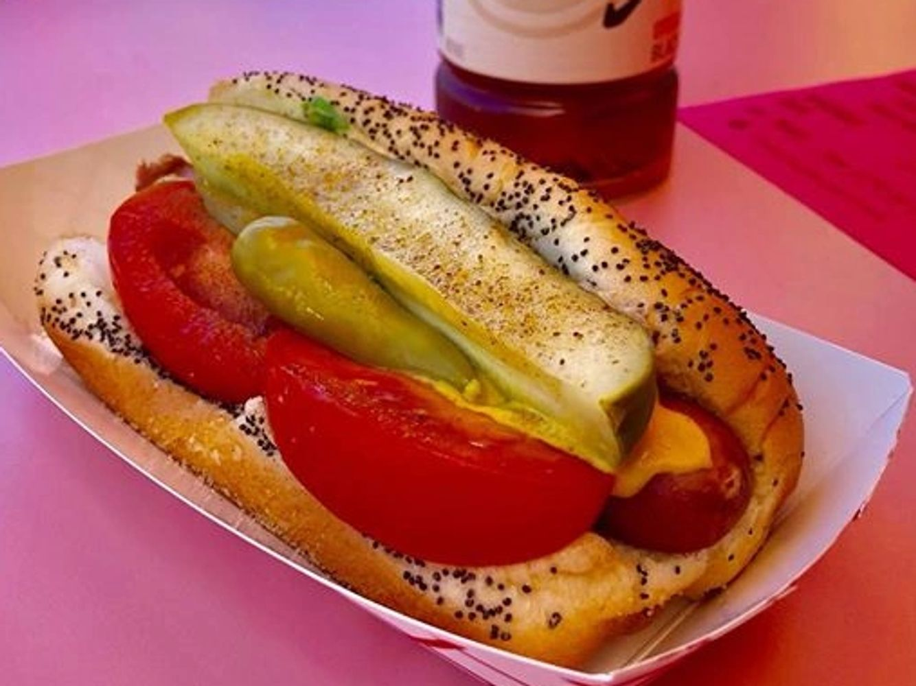 Authentic Chicago Dog made with Vienna Beef or your choice of dogs. Yellow mustard, atomic relish, d