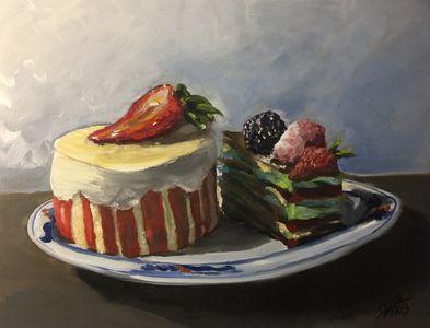 """Yummy Deserts"" is a 11""x14"" oil on wooden panel strawberry pastries"