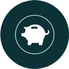 Dark green circle icon with white piggy bank icon inside