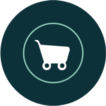 Dark green circle icon with white shopping cart icon inside