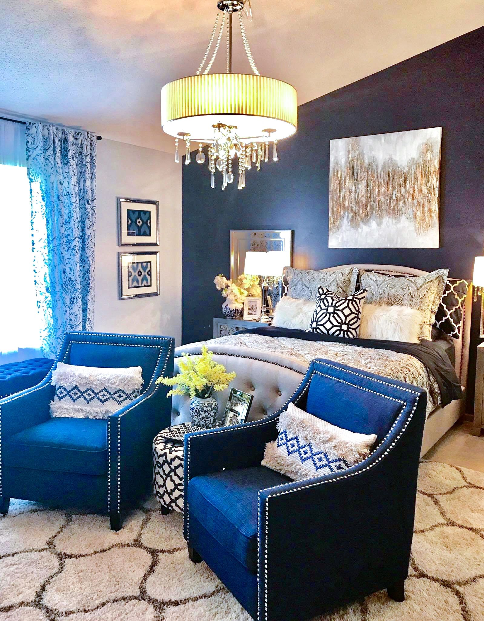 Yellow Door Interior:  Blue and Gray Glam Master Bedroom