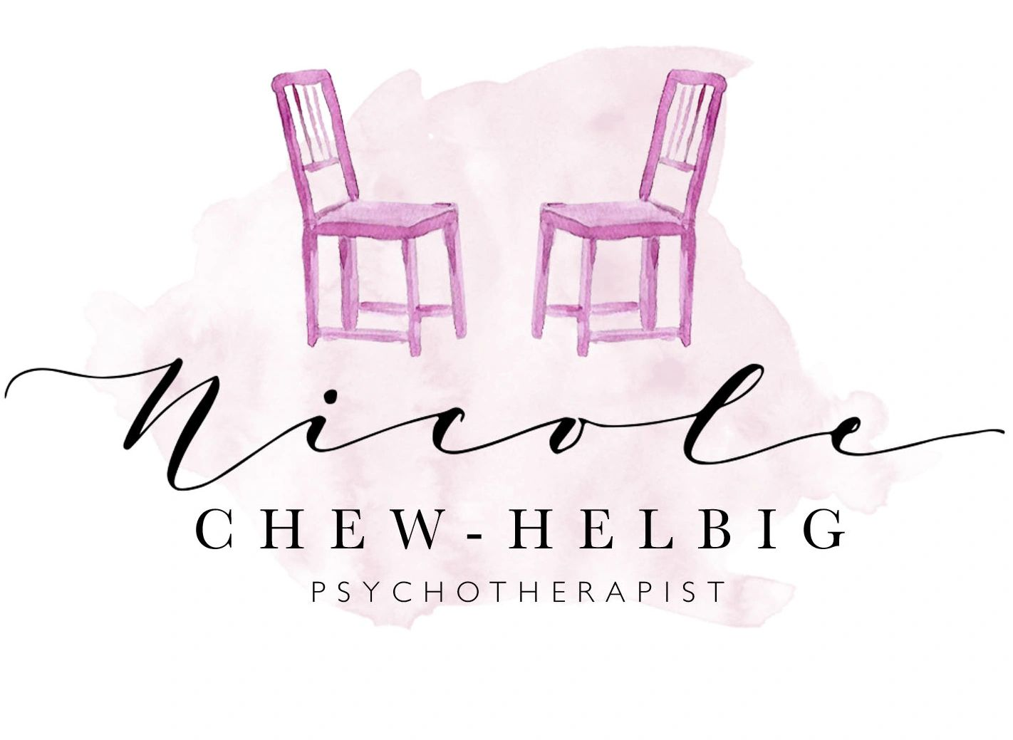 Gestalt Psychotherapy Singapore empty chair watercolor logo in pink.