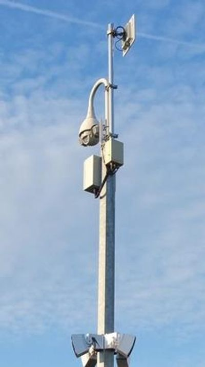 PTZ camera with long range Infra Red, IP Network wireless link and Redwall motion detectors.