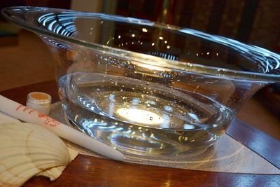 baptism font shell candle