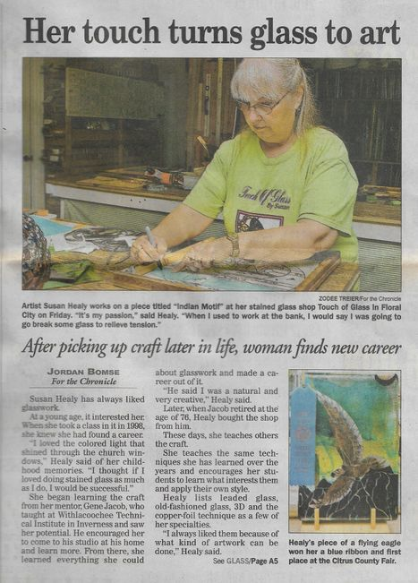 Citrus County Chronicle about Touch of Glass by Susan in Floral City Florida  teaching stained glass