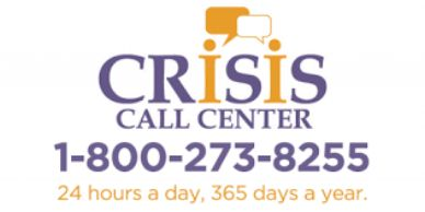 The logo for Crisis Call Center. The number is 1-800-273-8255