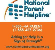 The logo for the National Parent Helpline. The number is 1-855-427-2736 and the URL is nationalparenthelpling.org.