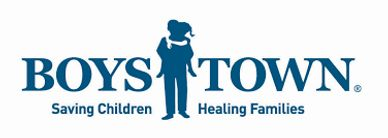 The logo for Boys Town in blue lettering