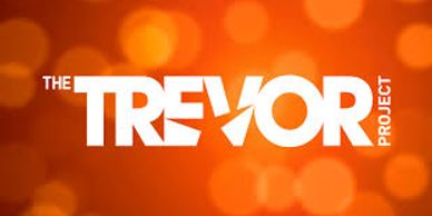 The bright orange logo for the Trevor Project