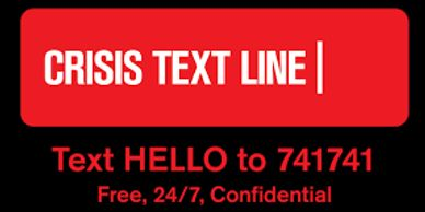 The logo for the Crisis Text Line. The number is 741741.