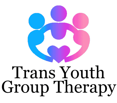 Logo for Trans Youth Group Therapy: three youths in shades of blue, violet, and pink