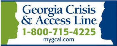 Logo for the Georgia Crisis & Access Line. The number is 1-800-715-4225 and the URL at the bottom reads mygcal.com