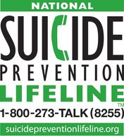 National Suicide Prevention Lifeline logo in green and black lettering. The number is 1-800-273-8255.