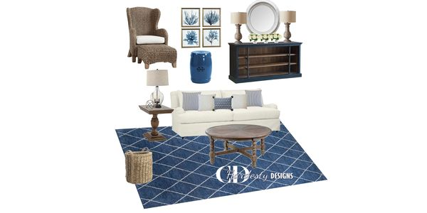 Interior edesign room refresh concept  featuring a design with a coastal style by CDHardesty Designs