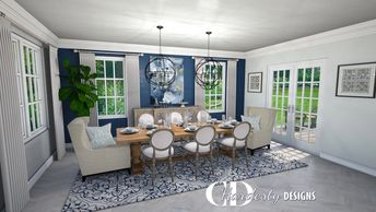 3D Rendering by CDHardesty Designs, Classic styled dining room design with neutral shades and blue.
