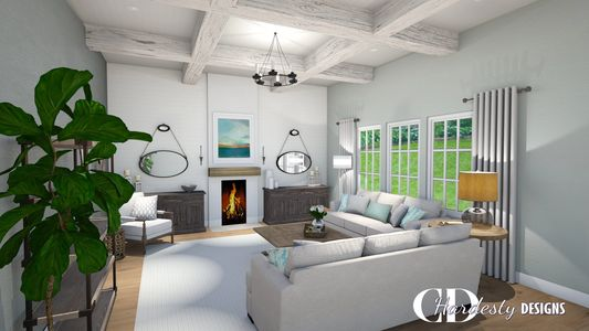 Interior edesign room refresh rendering featuring a living room with a coastal farmhouse style.