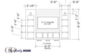 Elevation drawing of a media wall by CDHardesty Designs