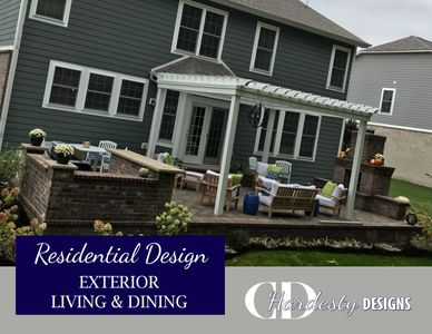 Patio, pergola, outdoor kitchen, fireplace, firepit and deck edesigns by CDHardesty Designs.