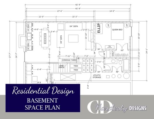 Residential basement remodel or new construction edesign space planning by CDHardesty Designs