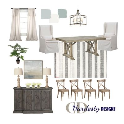 Farmhouse style dining room concept board by CDHardesty Designs