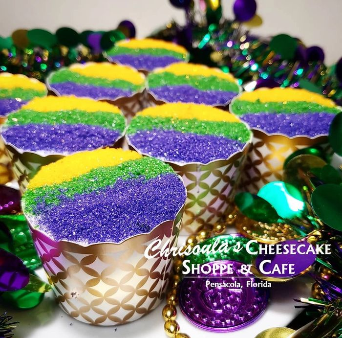 Chrisoula's King Cake Cheesecake Minis!