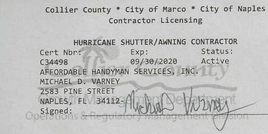 Affordable Handyman Services Inc. Hurricane Shutter Contractors License Hurricane  Shutter Repair