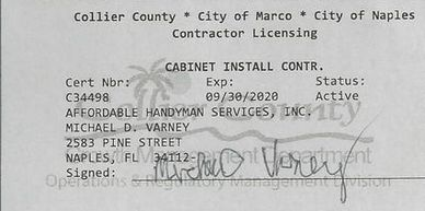 Affordable Handyman Services Inc. Cabinet Contractors License