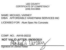 Lee County Aluminum Contractor License