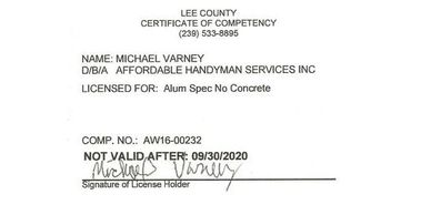 Affordable Handyman Services Inc. Lee County Aluminum Contractors License