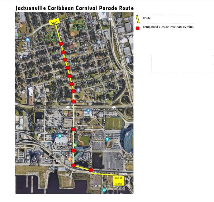 Jacksonville Caribbean Carnival Parade route.