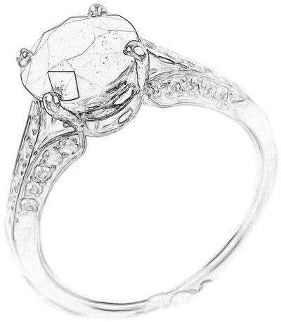 Line art of a solitaire engagement ring