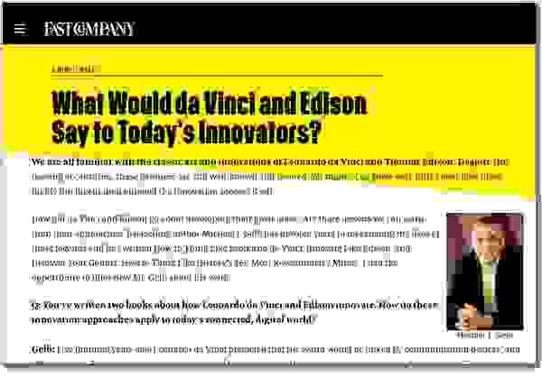 Michael J. Gelb FAST COMPANY What Would da Vinci & Edison Say to Today's Innovators?