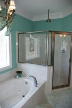 Tub shower combination in custom color bathroom