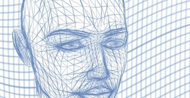 3d wireframe face created in a 3d application.