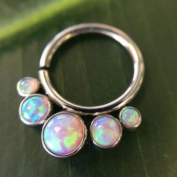 Dead RockStar Body Tattoos & Body Piercing: Seamless ring with white opal beads attached polished titanium