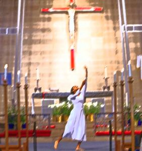 Praise dancer at The Evangelical Lutheran Church of the Good Shepherd in Roosevelt, Long Island